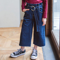 2019 New Street Fashion Kids Spring Summer Elegant Denim Trousers Waistband High Waist Jeans For Girls Jeans 5 6 7 8 9 Years Old