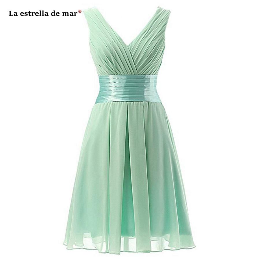Brautjungfernkleid SALE Sexy V-neck Chiffon A Line Mint Green Royal Blue Turquoise Purple Blush Bridesmaid Dress Tea Length