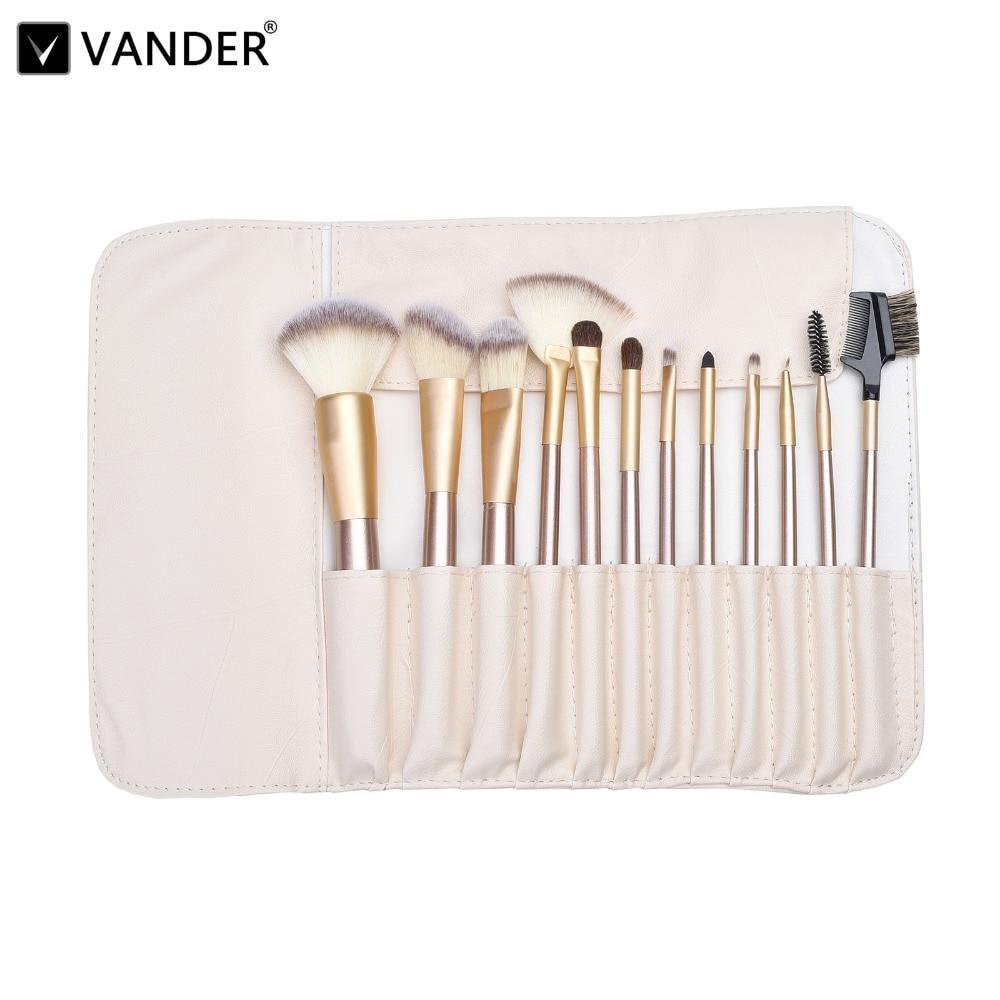 Vander 12pcs Professional Luxury Makeup Brushes Brush Set Multipurpose Cosmetic pinceaux pincel maquiagem Kits + Leather Case