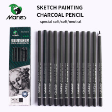 Marie's 12Pcs Charcoal Pencil For Sketch Painting Pencils Drawing Lapiz Set Stationery School Art Supplies Pencils for Students 8pcs musical note pendant pencil set writing drawing pencil sketch painting non toxic pencils for school students stationery