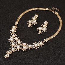 Bridal Jewelry Sets Wedding Jewelry Leaf Crystal Gold Silver Plated Necklaces Earrings Sets