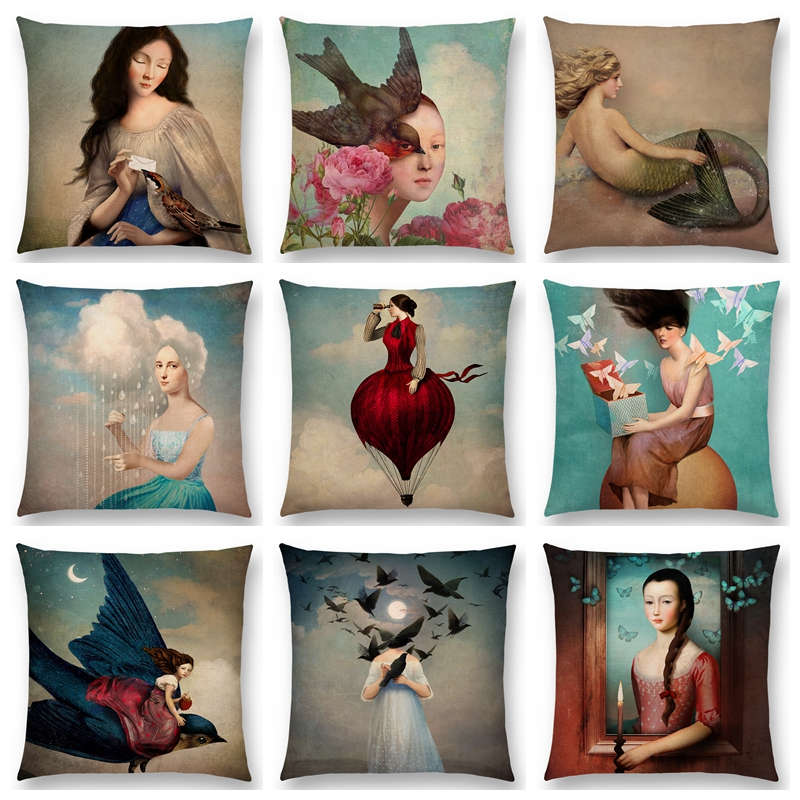 Hot Sale Elegant Lady Beautiful Girl Oil Painting Magical Moon Music Fairy Tale Flowers Bird Fantasy Cushion Sofa Throw Pillow