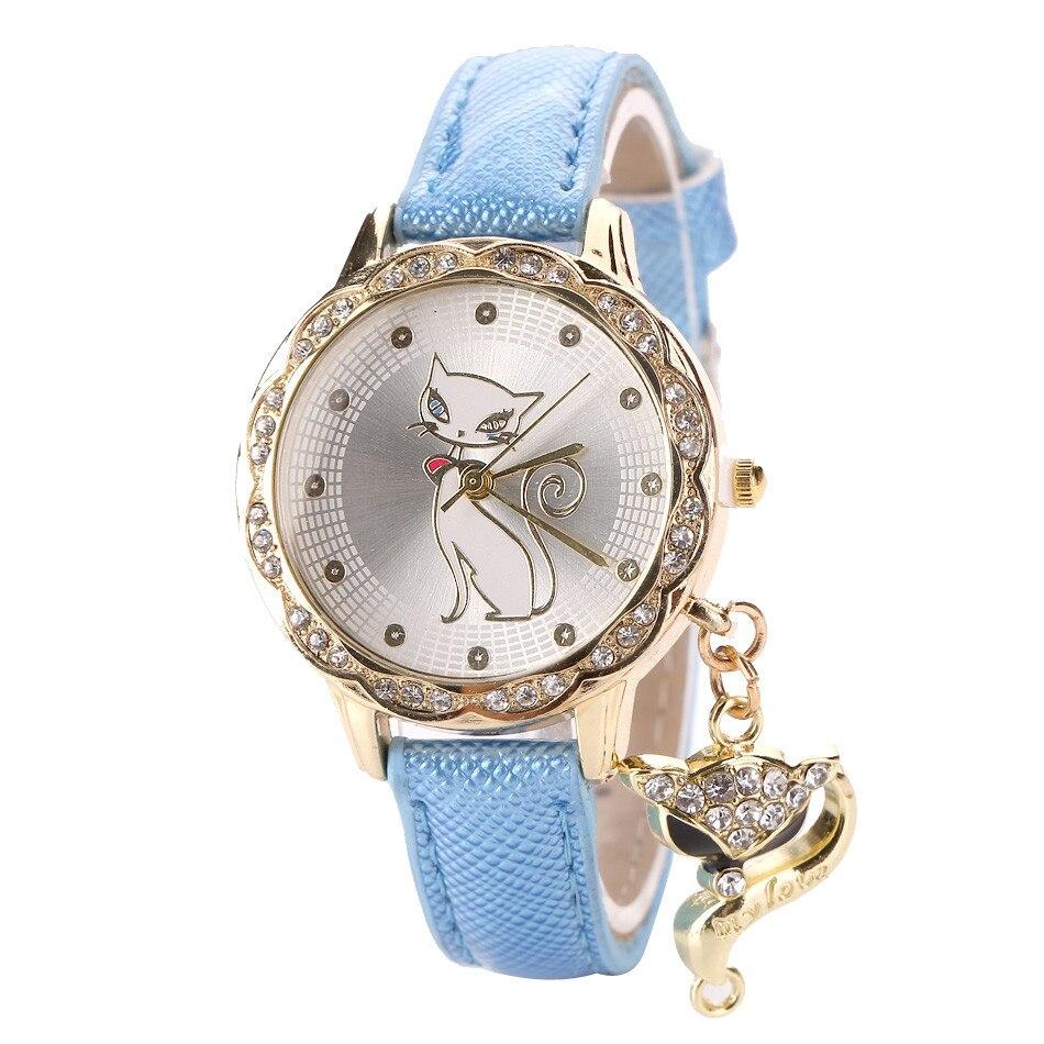 Mode Lucu Kucing Pola Wanita Gadis Menonton Mewah Berlian Analog Kulit Quartz Wrist Watches Levert Dropship J72