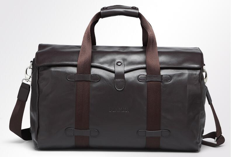 Genuine leather black large outdoor casual travel duffle bag calf skin holdall