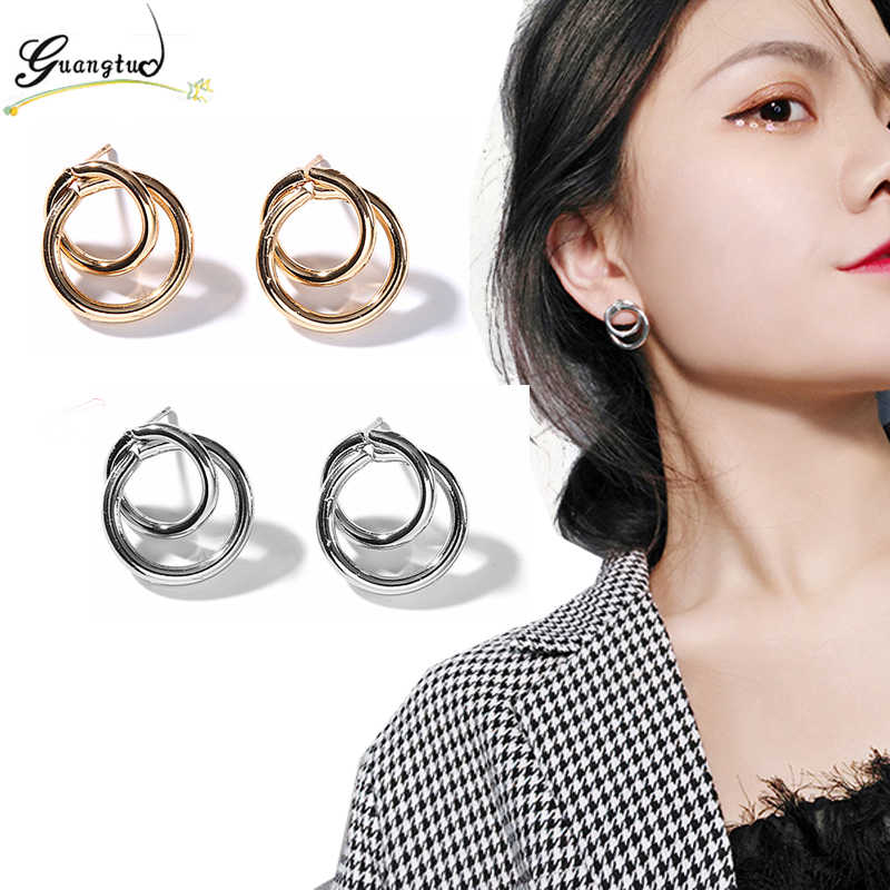 New Arrival Double Circle Stud Earrings For Women Fashion Jewelry Geometric Round Earring Oorbellen Brincos Bijoux