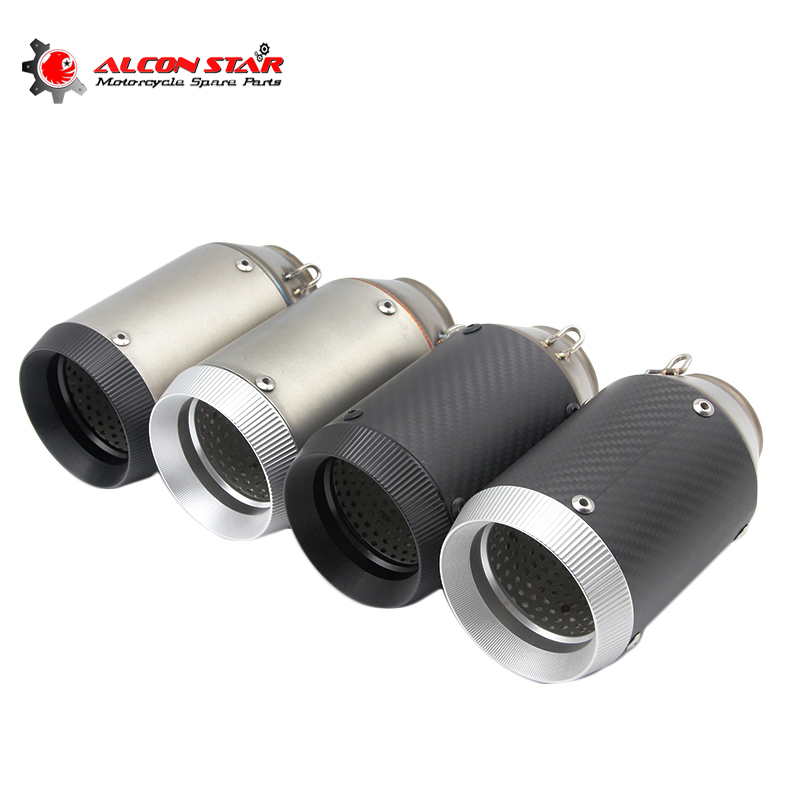 Alconstar- Stainless Steel Motorcycle Exhaust Muffler Tip Pipe Silp On Muffler Off Road Pit Dirt Bike Street Scooter Racing 51mm 61mm inlet motorcycle slip on exhaust escape moto stainless steel racing bike exhaust 600cc gy6 scooter dirt pit bike sc016