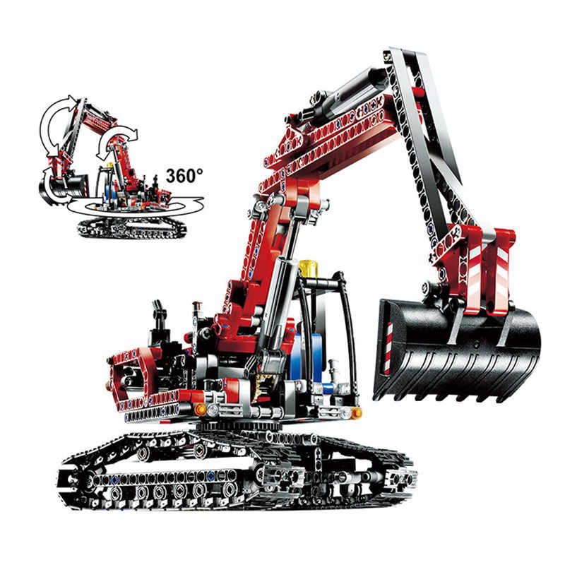 760 Buah dengan Legoed Technic 8294 Super Cool Engineering Excavator Model DIY Blok Bangunan Kit Mainan Hadiah