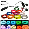 Hot 1M-5M LED Glow EL Wire Light String Strip Rope Car Party+Sound Activated Remote/12/3V Controller 10 Colorful Free Shipping