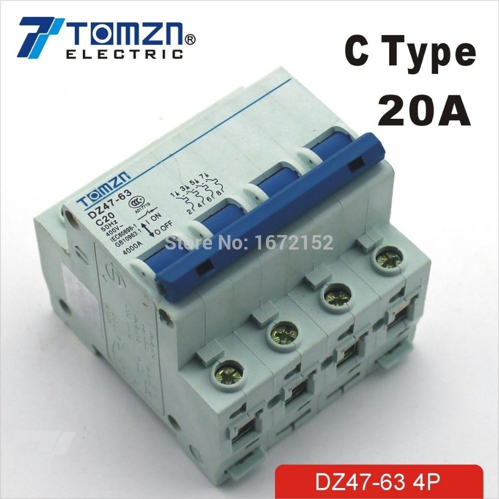 4P 20A 240V/415V Circuit breaker MCB C TYPE 4 Poles цена