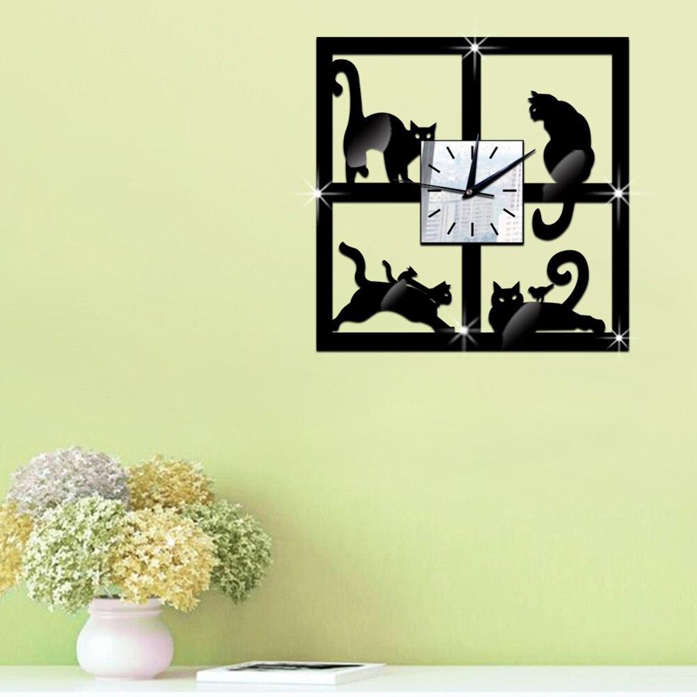 3D Black Cat Pattern Decorative Wall Clock