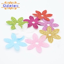 40Pcs Mix Color Non-woven Fabric Spring Flower Glitter Patches Artificial Appliques DIY Crafts, Nursery Room, Kindergarten Decor