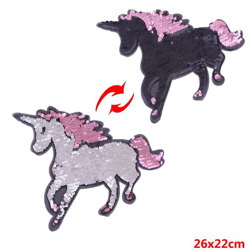 Prajna Unicorn Patches Sewing On Reversible Changing Color Sequined Patches For Clothing Applique Stickers On Clothes Jacket DIY in Patches from Home Garden