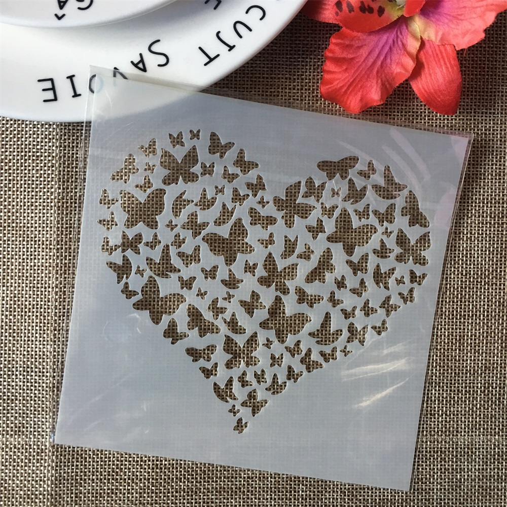 """5"""" Butterfly Heart Love DIY Layering Stencils Wall Painting Scrapbook Coloring Embossing Album Decorative Paper Card Template"""