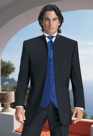Handsome Stand Collar Groom Tuxedos Groomsman Blazer Man Business Suits Prom Suits (Jacket+Pants+Vest+Tie) NO:0112
