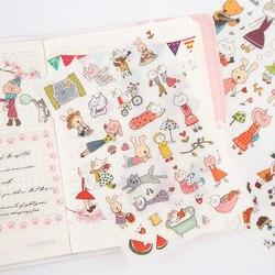 6 arkuszy/lot kot kreskówkowy królik dziecko papierowa naklejka pakiet DIY dekoracyjna naklejka na pamiętnik album scrapbooking Naklejki Dom i ogród -