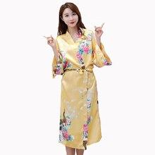 c18fe03f97 Frauen Gelb Sexy Kimono Bademantel Kleid Rayon Druck Pfau Braut  Brautjungfer Hochzeit Robe Plus Größe Nachtwäsche