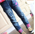 Children's clothing spring and autumn girls jeans,Children Letters skinny pants baby trousers