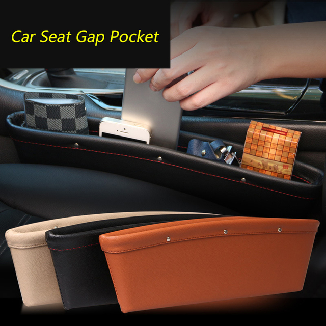 1PCS Car Seat Gap Pocket Multifunctional Auto Seat Gap Storage Bag Car Interior Organizer PU Leather Storage Box Car Styling