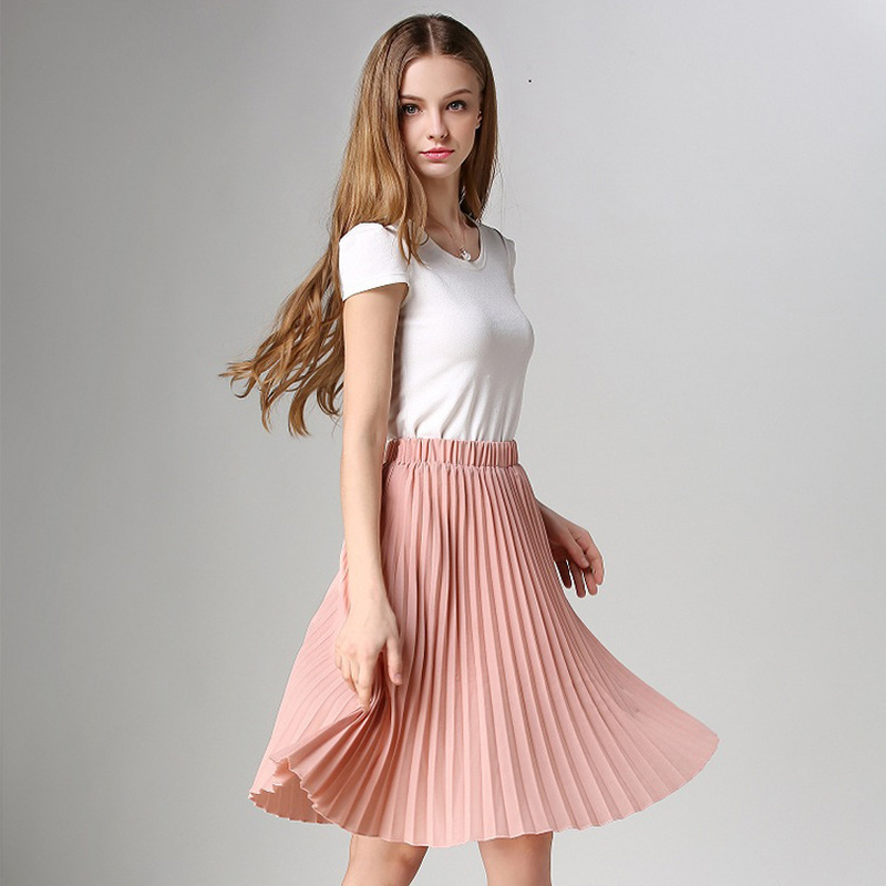 Fashion Casual Summer Temperament Chiffon Pleated Solid Color Midi Skirt Women Korean Style Streetwear Pink Skirts for Female