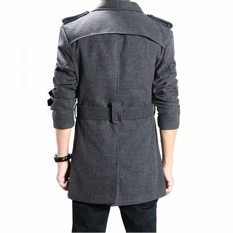 トレンチコートの男性の冬のロングダブルブレストウール厚手の無地暖かいスリムスタンド襟高品質都市ウールブレンドコート
