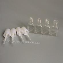 300 adet/grup 5g Mini Sevimli Şeffaf Plastik Boş kare tırnak Cilalı Şişe Beyaz Fırça Plastik Tırnak Şişesi çocuk