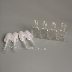 Image 1 - 300 adet/grup 5g Mini Sevimli Şeffaf Plastik Boş kare tırnak Cilalı Şişe Beyaz Fırça Plastik Tırnak Şişesi çocuk