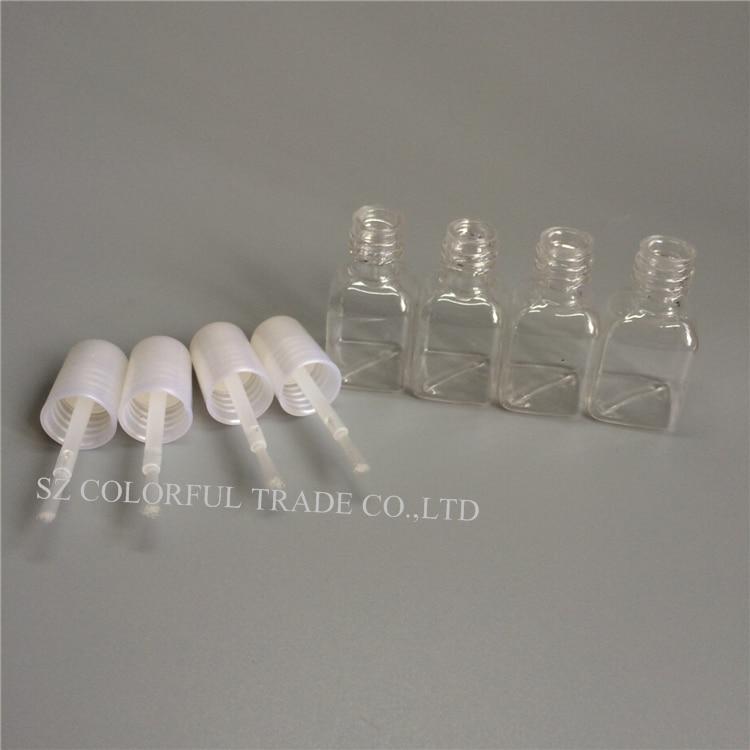 300 stks/partij 5g Mini Leuke Clear Plastic Lege Vierkante Nail Gepolijst Fles Met Wit Cap Borstel Plastic Nail Fles voor Kinderen-in Hervulbare Flessen van Schoonheid op  Groep 1