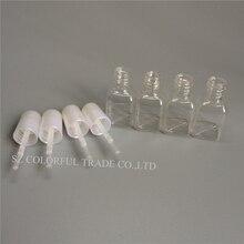 300 sztuk/partia 5g Mini śliczne przezroczyste plastikowe puste kwadratowe paznokci polerowane butelka z białą czapką szczotka z tworzywa sztucznego butelka do paznokci dla dzieci
