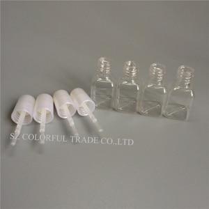 Image 1 - 300pcs/lot 5g Mini Cute Clear Plastic Empty Square Nail Polished Bottle With White Cap Brush Plastic Nail Bottle For Children