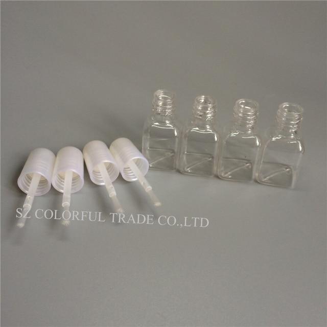 300pcs/lot 5g Mini Cute Clear Plastic Empty Square Nail Polished Bottle With White Cap Brush Plastic Nail Bottle For Children