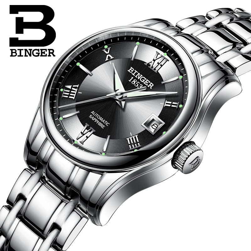 Genuine Swiss BINGER Women automatic mechanical self-wind sapphire dress watch fashion female waterproof free shipping đồng hồ binger bg54