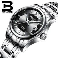 Genuine Switzerland BINGER Women automatic mechanical self wind sapphire dress watch fashion female waterproof free shipping