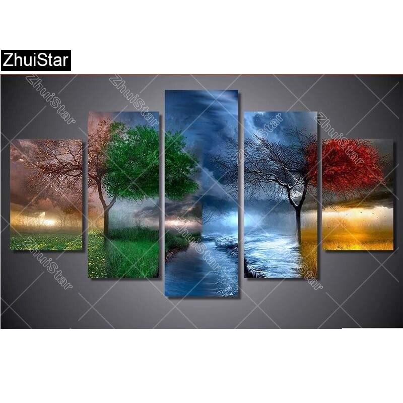 5d diy алмазная живопись четыре сезона деревья Вышивка крестом алмазы полная Алмазная вышивка 5 шт./компл. рукоделие домашнее искусство XSH
