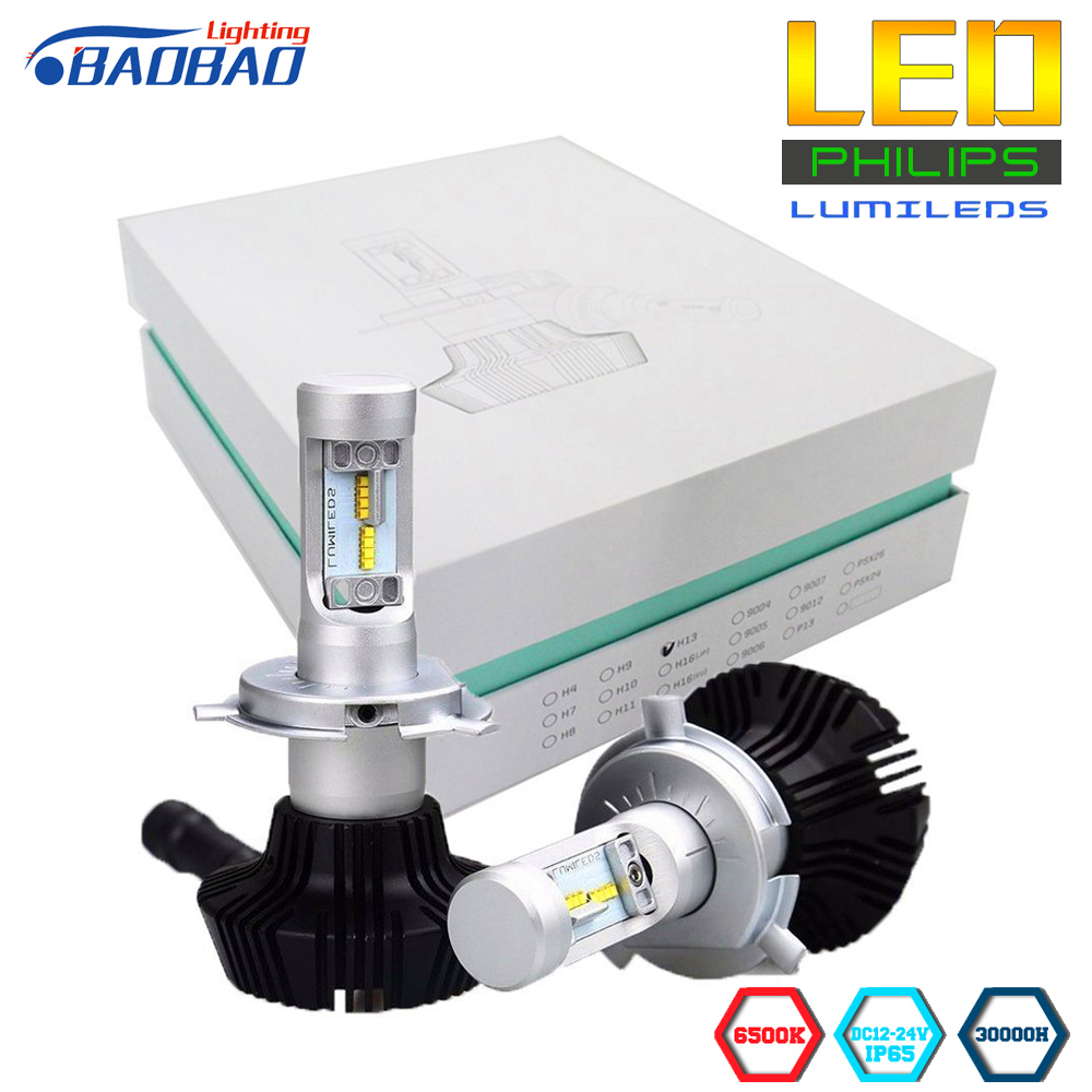 BAOBAO 7G Car Headlight Bulbs Kit Use Philips Lumileds Chips 8000lm Super Bright h4 h13 9007 h7 h11 9005 9006 80W White 6500K 12v led light auto headlamp h1 h3 h7 9005 9004 9007 h4 h15 car led headlight bulb 30w high single dual beam white light