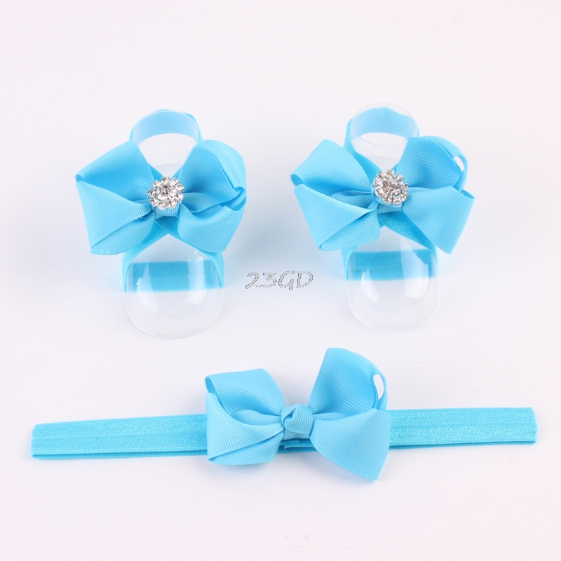 2017 Cute Baby Girl Kids Barefoot Sandals Shoes Headband Crystal Flower Foot Band MAY16_35