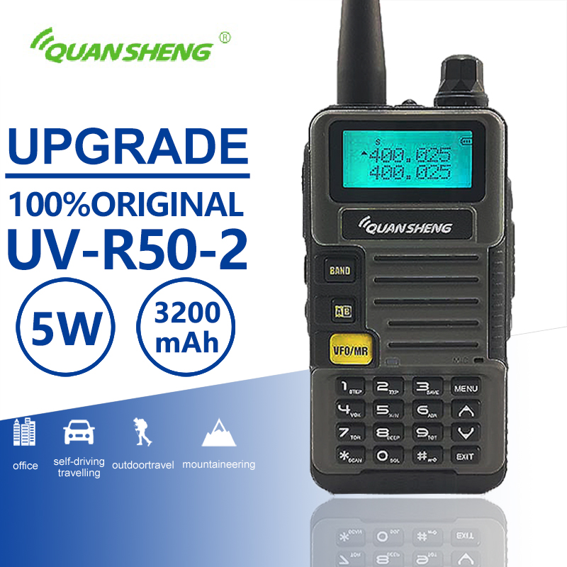 Quansheng UV R50 2 Upgrade Mobile Walkie Talkie Vhf Uhf Dual Band Radio Comunicador Hf Transceiver Scanner Baofeng Uv 5r Similar-in Walkie Talkie from Cellphones & Telecommunications