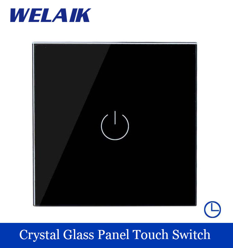 WELAIK Crystal Glass Panel Switch black Wall Switch EU Time Touch Switch Screen Light Switch 1gang1way AC110~250V A1911DSB smart home us au wall touch switch white crystal glass panel 1 gang 1 way power light wall touch switch used for led waterproof