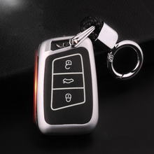 Luminous Leather Car Key Cover Case For Volkswagen VW Tiguan 2018 Magotan Passat B8 Touran Jetta Bora Touareg CrossFox Plus Eos цена и фото