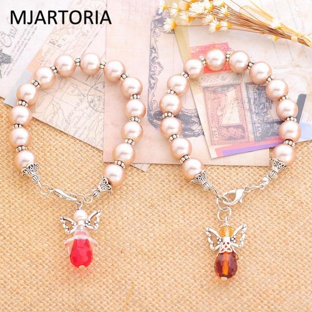 Mjartoria Diy Steel Wire String Beads Bracelet Unique Angel Charm Pendant Handmade Customizable Bracelets Bangles Jewelry Making