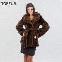 TOPFUR 2018 New Type Real Mink Fur Coats Women's Slim Showing Waist Fur Coat Luxury Hot Sell Mink Fur Outwear Jackets Russia