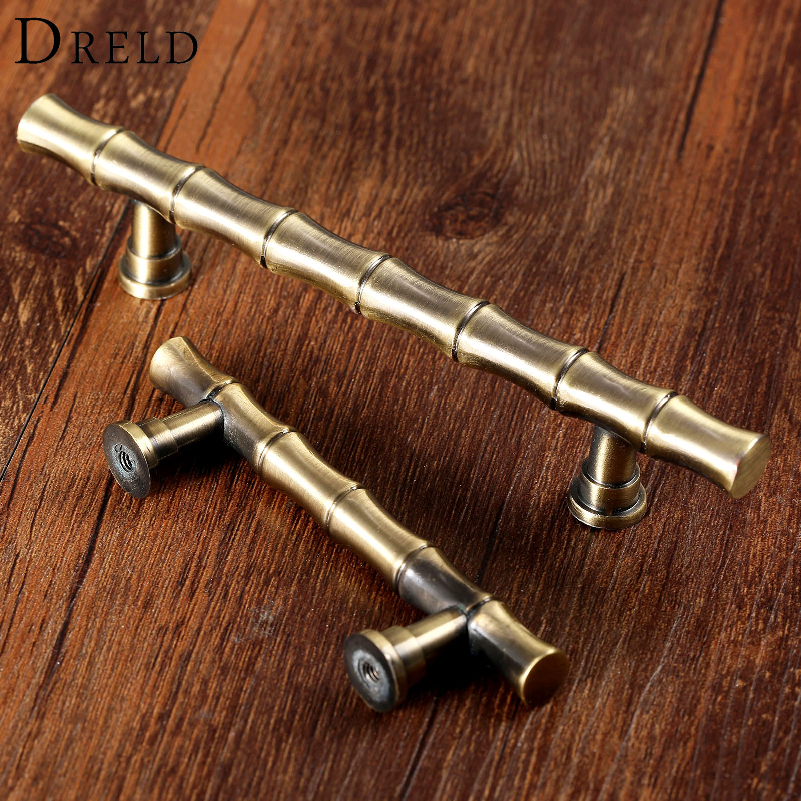 Dreld Antique Br Furniture Handle Vintage Retro Bamboo Drawer Closet Cabinet S And Handles Pull 64mm 96mm In Pulls From Home