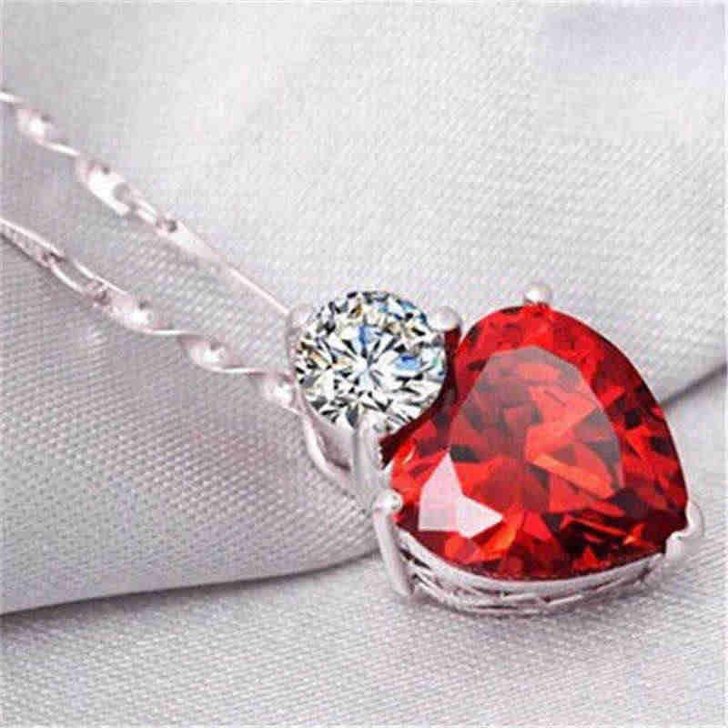 Urok brzoskwiniowy posrebrzane serce miłość łańcuszek z kryształami górskimi naszyjnik