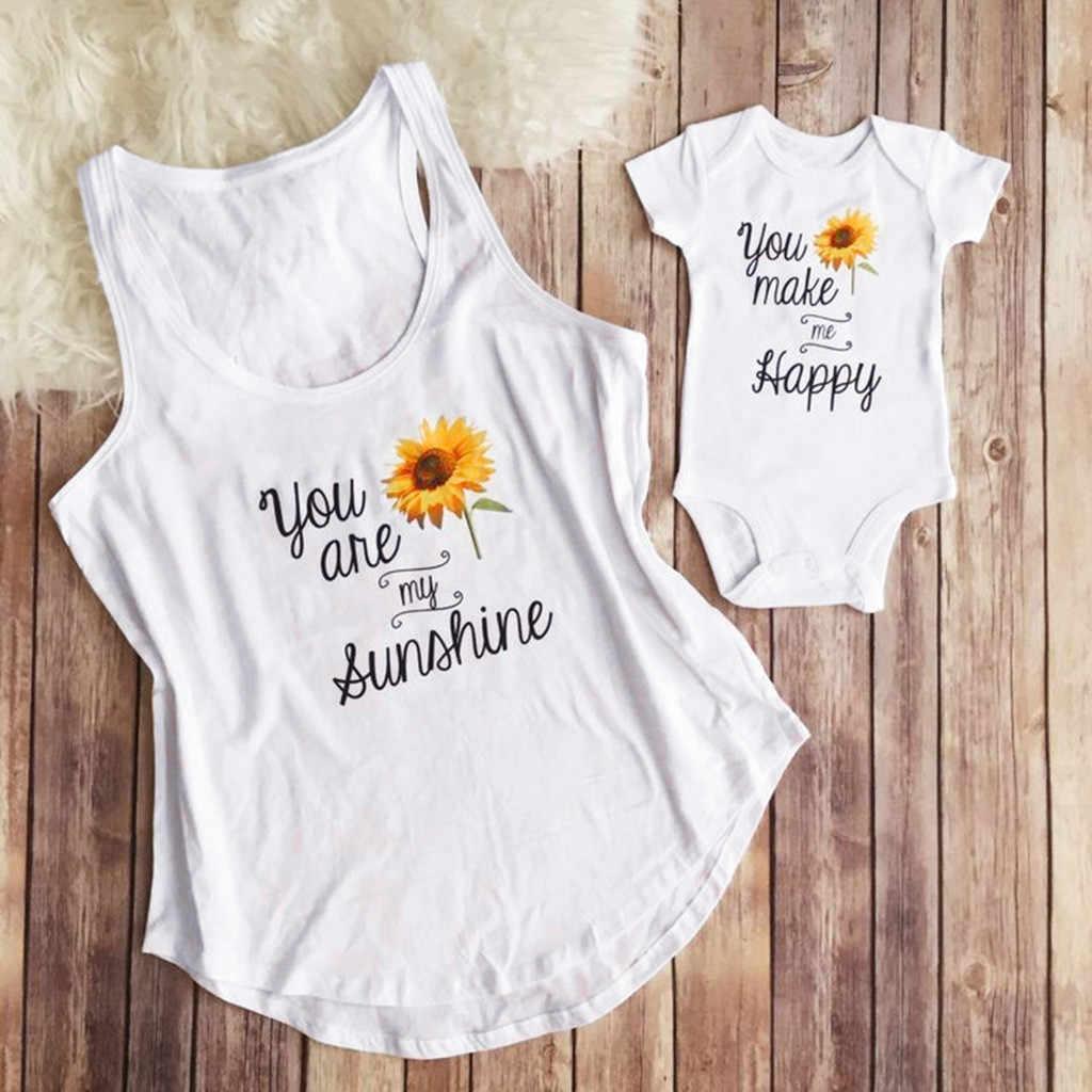 Madre y yo ropa body Infante bebé impresa mameluco mujeres chaleco Tops juego familia madre y hija dropenvíos. Exclusivo. Ropa