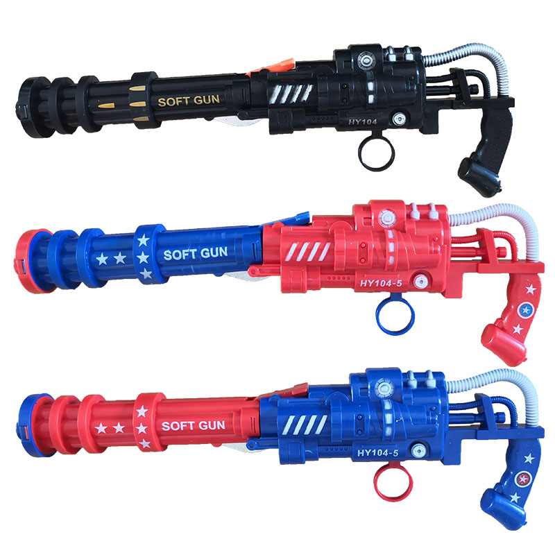 27cm Shot Soft Bullet Gatlin Double Pipe Pistol Outdoor Toy Gun America Hero Safety Interesting Toys Continuous Shooting
