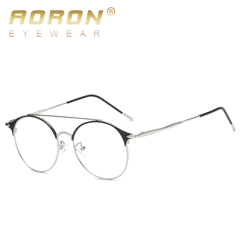 AORON 2018 New Fashion Women Mens Computer Goggles Retro Metal Blue Light Blocking Glasses Round Gaming Glasses UV400 Eyewear