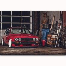 MQ798 M3 E30 серия супер крутой красный гоночный автомобиль мускул винтажный популярный художественный плакат Шелковый светильник на холсте домашний декор Настенная картина печать