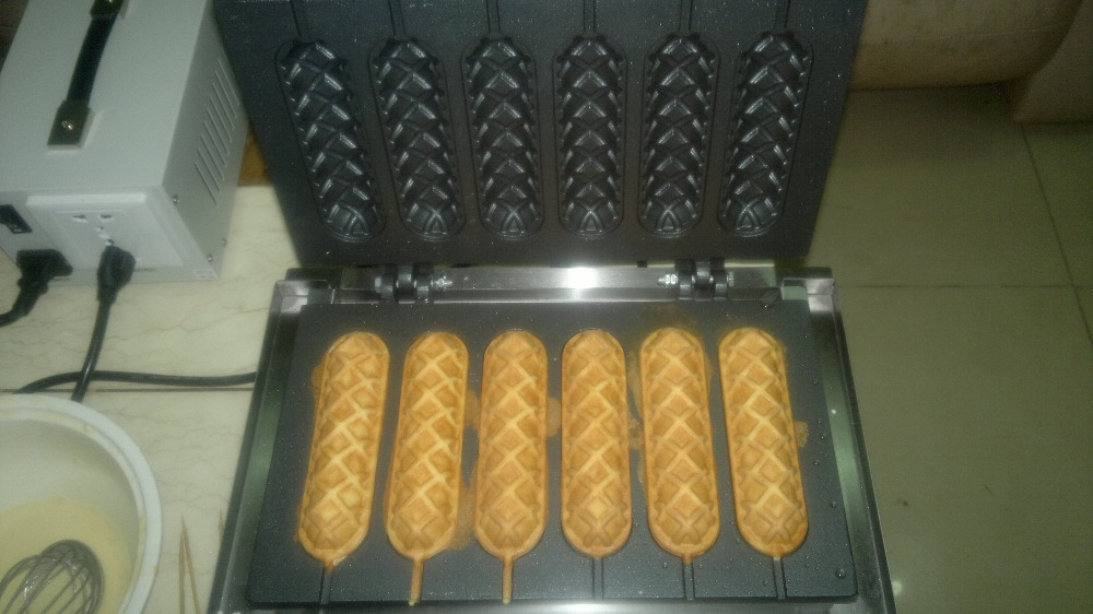 Free shipping 110v 220v Electric 6 pcs French sausage machine/ hot dog bread/  waffle iron/ hot dog maker Lolly stick