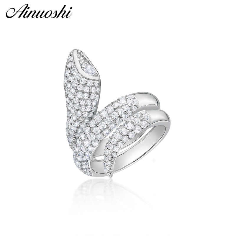 AINUOSHI 925 Sterling Silver Animal Snake Rings Women Anniversary Party Original Silver Rings Jewelry Lover anillos de animalesAINUOSHI 925 Sterling Silver Animal Snake Rings Women Anniversary Party Original Silver Rings Jewelry Lover anillos de animales