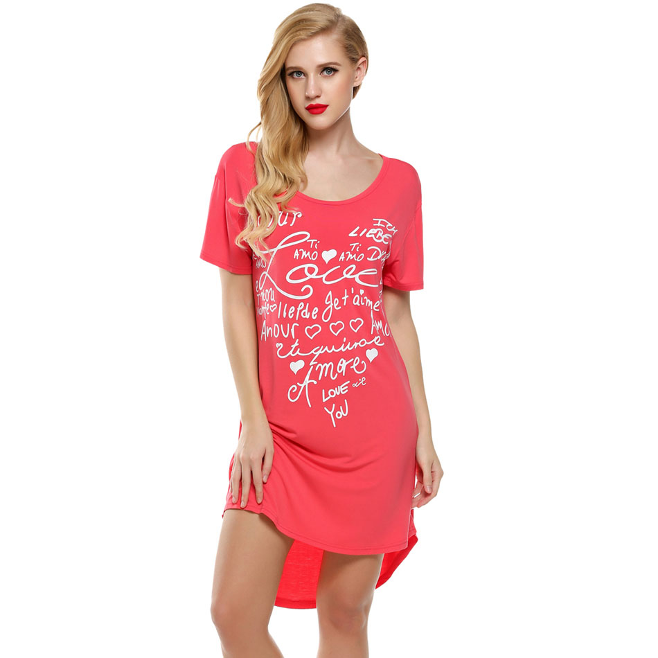Ekouaer Women Nightgowns Summer Sleepwear Casual Night Dresses Plus Size Short Sleeve Letter Print Loose Nightdress Home Clothes 1