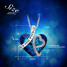 Women Blue Heart  Pendant Necklace Embellished with crystals from Swarovski
